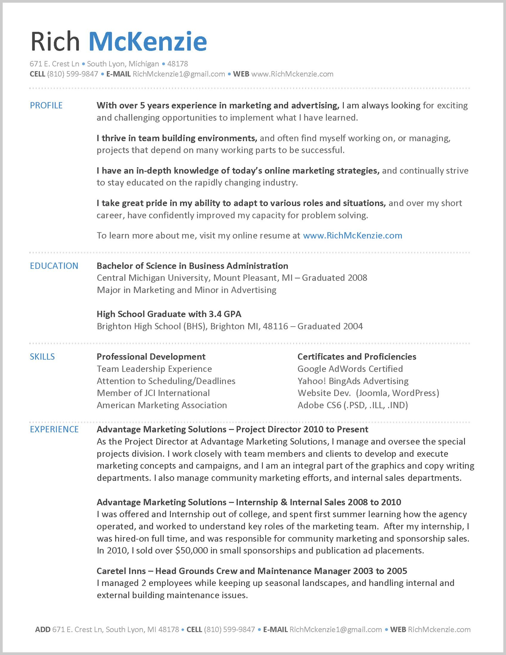 how should a resume look like in resume